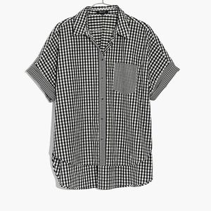 Madewell Gingham Play Button Down Shirt Black M